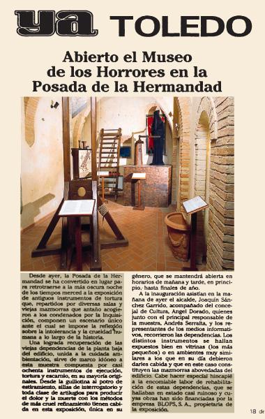 """Aperto il museo degli orrori nella """"Posada de la Hermandad"""""""